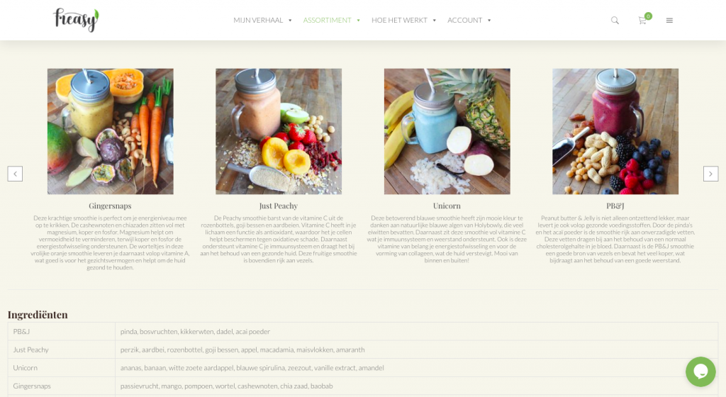 Webpagina Freasy - Smoothiepacks