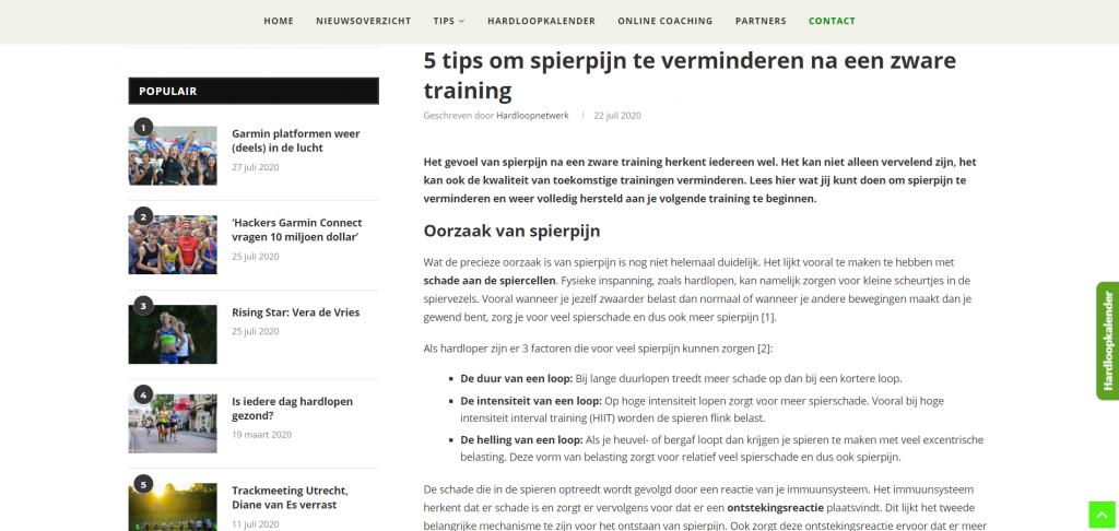 Webpagina Hardloopnetwerk - Artikel spierpijn verminderen