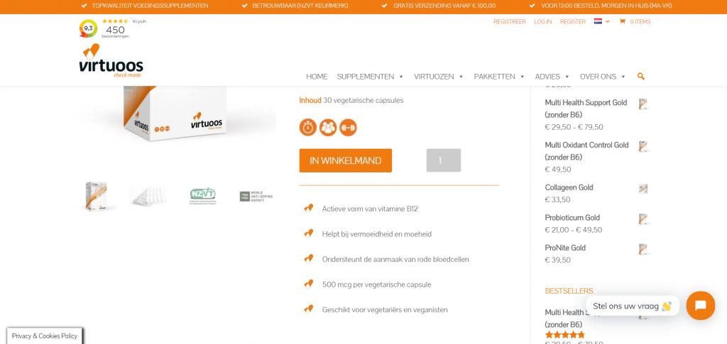 Webpagina Virtuoos - Vitamine B12 Gold USP's