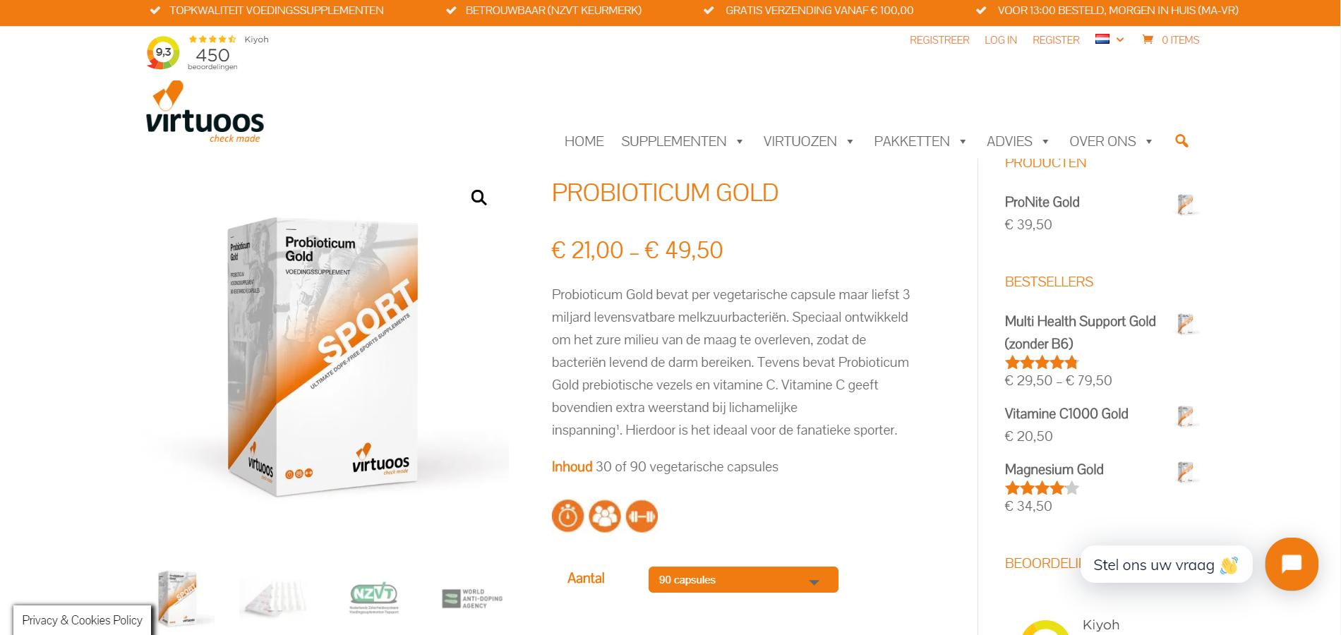 Webpagina Virtuoos - Probioticum Gold