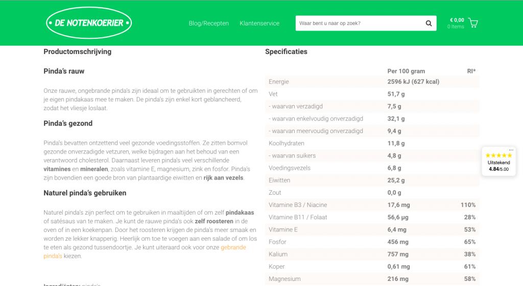 Webpagina denotenkoerier.nl - Pinda's rauw